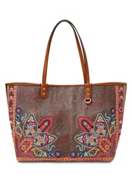Etro Printed Leather Tote Bag Multicolor