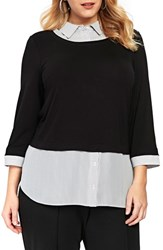 Evans Plus Size Stripe And Solid 2 In 1 Shirt