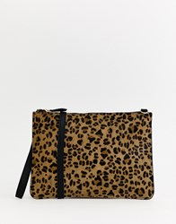 Warehouse Leather Across Body Bag In Leopard Print Multi
