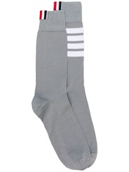 Thom Browne 4 Bar Mid Calf Cotton Socks Grey