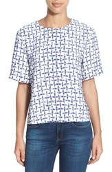 Women's Halogen Print Short Sleeve Boxy Top Ivory Blue Fusion Print