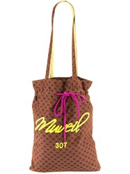 Muveil Drawstring Lips Print Tote Bag Women Cupro One Size Brown