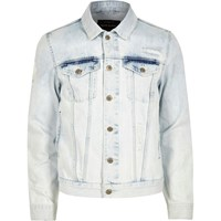 River Island Mens Light Blue Acid Wash Denim Jacket
