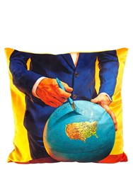 Seletti Globe Printed Pillow Multicolor