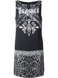 Versace Gothic Logo Dress Black