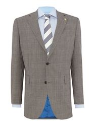 Chester Barrie Check Notch Collar Tailored Fit Suit Grey
