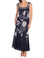 Chesca Embroidered Beaded Dress Navy Ivory