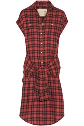R 13 R13 Tie Front Plaid Shirt Dress Red