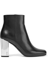 Saint Laurent Babies Metallic Trimmed Leather Ankle Boots Black
