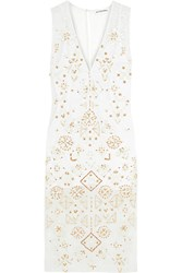 Altuzarra Pamplona Embellished Silk Chiffon Paneled Broderie Anglaise Cotton And Silk Blend Dress Ivory