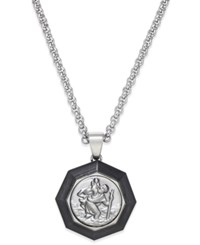 Macy's St. Christopher Medallion Pendant Necklace In Carbon Fiber And Stainless Steel Silver