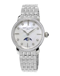 Ladies' Slimline Moonphase Stainless Diamond Watch Frederique Constant