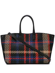 Akris Woven Plaid Shoulder Bag Black