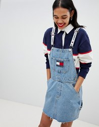 Tommy Jeans Jean 90S Capsule 5.0 Denim Dungaree Dress Light Denim Blue
