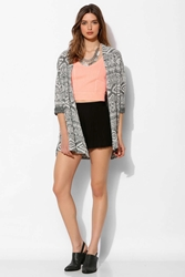 Ecote Geo Print Open Front Cardigan Black And White