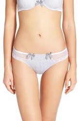 Women's Passionata 'Lovely Passion' Lace Back Tanga Grey White