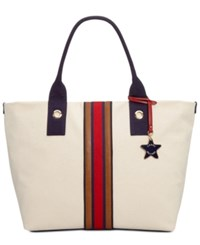 Tommy Hilfiger Web Stripe Tote Natural Navy