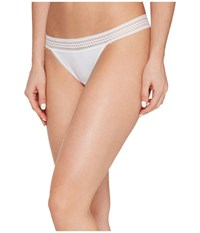 Dkny New Classic Cotton Lace Trim Thong Poplin White Women's Underwear