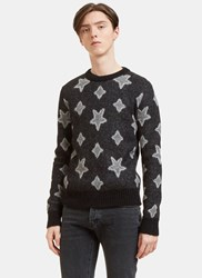 Saint Laurent Star Mohair Crew Neck Sweater Grey
