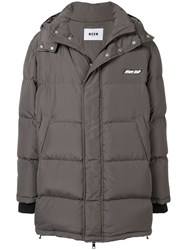 Msgm Quilted Hooded Jacket Grey