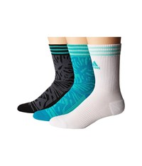 Adidas Adipalm 3 Pack Crew Shock Mint Lab Green Easy Green White Black Deepest Space Women's Crew Cut Socks Shoes Multi