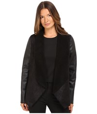 The Kooples Gilet In Faux Treated Sheepskin With Faux Leather On Sleeves Black Women's Coat