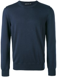 Alexander Mcqueen Knitted Sweater Men Silk Wool L Blue