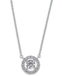 Macy's Diamond Halo Pendant Necklace 1 2 Ct. T.W. In 14K White Gold