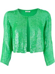 P.A.R.O.S.H. Sequinned Cropped Jacket Green