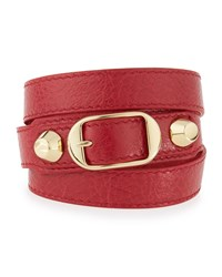 Balenciaga Classic Leather Wrap Bracelet Size Medium Rouge