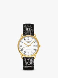 Longines L49602112 'S Lyre Automatic Date Leather Strap Watch Black White