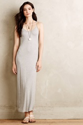 Bordeaux Ribbed Maxi Slip Dress Light Grey