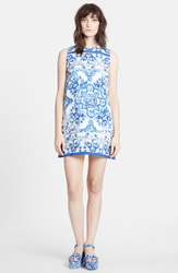 Dolcegabbana Tile Print Brocade Shift Dress White Blue