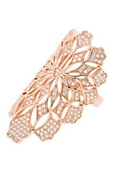 Rose Gold Plated Sterling Silver Cz Vintage Patterned Shield Ring Metallic