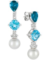 Le Vian Blue Topaz 2 1 6 Ct. T.W. London Blue Topaz 1 3 4 Ct. T.W. White Cultured Freshwater Pearl 9Mm And Diamond 1 3 Ct. T.W. Drop Earrings In 14K White Gold