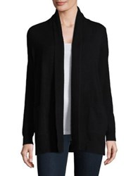 Lord And Taylor Petite Cashmere Open Front Cardigan Ebony