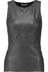 Bailey 44 Lace Paneled Faux Leather And Stretch Jersey Top Dark Gray