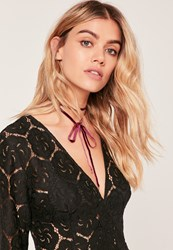 Missguided Velvet Wrap Around Choker Red Berry