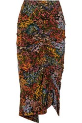 Preen By Thornton Bregazzi Aaliyah Ruched Floral Print Stretch Crepe Midi Skirt Brown