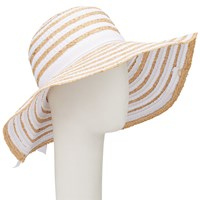 John Lewis Packable Ribbon Raffia Floppy Hat White Cream