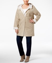 Jones New York Plus Size Hooded Raincoat Beach Tan Combo