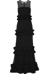Mikael Aghal Paneled Ruffled Tulle Gown Black