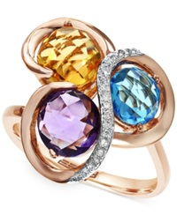 Effy Collection Mosiac By Effy Three Stone 3 1 4 Ct. T.W. And Diamond Accent Mosaic Ring In 14K Rose Gold Multi