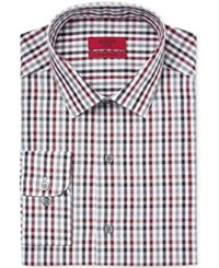 Alfani Red Men's Fitted Merlot Gingham Dress Shirt Only At Macy's