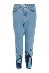 Topshop Moto Abstract Hem Mom Jeans Blue