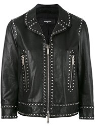 Dsquared2 Lou Jacket Women Calf Leather Polyester 40 Black