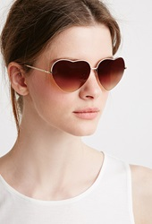 Forever 21 Heart Shaped Sunglasses White Gold