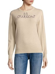 Lingua Franca Outlaw Embroidered Cashmere Sweater Camel Navy Thread