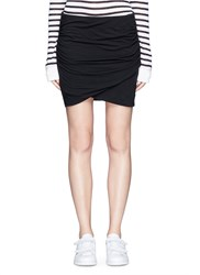 James Perse Shirred Cotton Jersey Wrap Mini Skirt Black