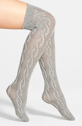 Nordstrom Over The Knee Cable Socks Grey Castlerock